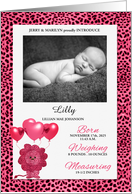 Pink Cheetah Baby Birth Announcement with Photo card