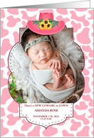 Pink Cowgirl Western Themed Baby Photo Announcement card