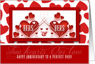 Lesbian Couple Anniversary Hers and Hers Red Hearts card