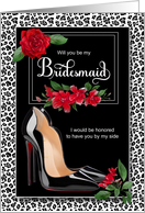Bridesmaid Request Silver Cheetah with Red Stiletto card