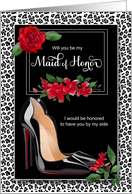 Maid of Honor Request Silver Cheetah with Red and Stiletto card