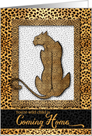 Coming Home From College Cheetah Print Wild Cat card