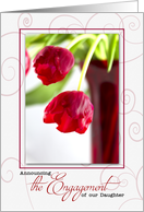 Daughter's Engagement Announcement - Red Tulips card