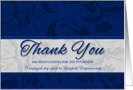 Business Thank You for the Interview Blue and Silver card