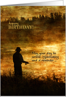 Birthday Fisherman Fishing on a Gold Pond at Sunrise card