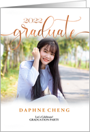 Class of 2018 Black Red and Gray Floral Graduation Custom Photo card