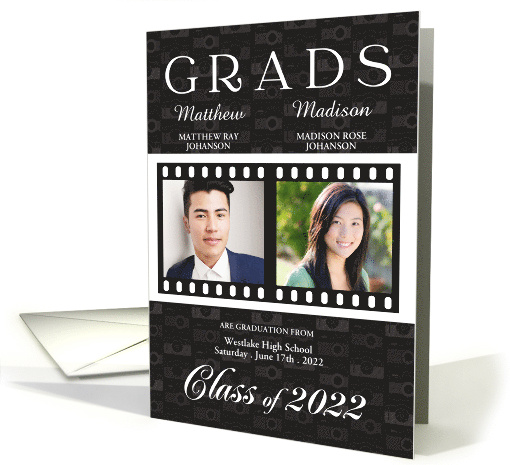 Twin Graduation Class of 2021 Blue Film Theme Twin's Photos card
