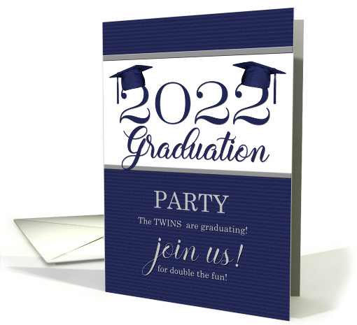 Twin Graduation Class of 2020 Party Invitation Blue Pinstripe card