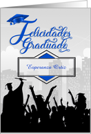 Spanish Graduation Party Invitation Graduación Celebración in Blue card
