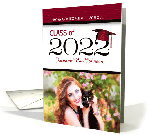Middle School Graduation Red and Black Class of 2020 Grad's Photo card