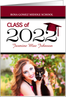 Middle School Graduation Red and Black Class of 2018 Grad's Photo card