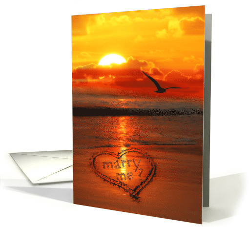 Marriage Proposal Written in the Sand Ocean Sunset card (796135)