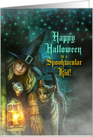 for Kids on Halloween Orange and Black Creepy Bats and Spiders card