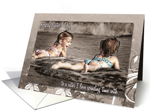Sister's Day Girls on the Beach Tinted Photograph card (828345)