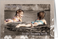 Sister's Day Girls on the Beach Tinted Photograph card