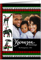 Kwanzaa Green, Red and White with Cultural Elements with Photo card