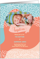 Blue and Brown Polka Dot Baptism Invitation Custom Photo card