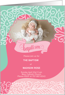 Pink and Brown Polka Dot Baptism Invitation with Photo card