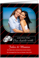 Custom Civil Union Announcement Red Pinstripe with Photo card