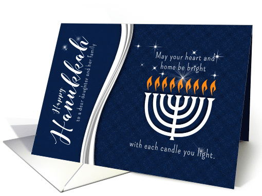 for Daughter and Family Hanukkah Menorah in Blue and White card