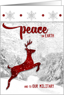Military Christmas Peace on Earth with Red Leaping Reindeer card