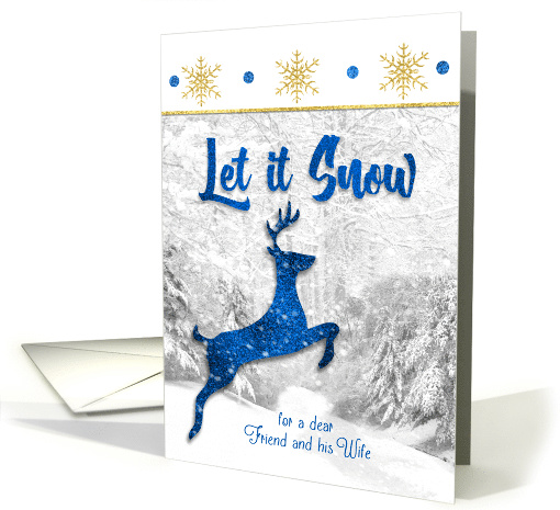 for Friend and His Wife Blue Reindeer Let in Snow Theme card (860321)
