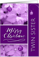 for Twin Sister Christmas Lavender Purple Poinsettia card