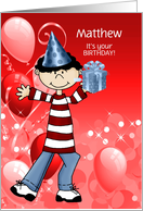 Boy's Birthday Custom Name in Red and Blue card