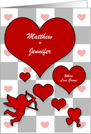 Personalized Valentine's Day Lover's Hearts with Cupid card