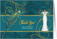 Thank You For Walking Me Down the Aisle Peacock in Teal and Gold card