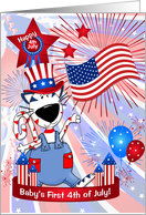 Baby's 1st 4th of July Cute Patriotic Cartoon Cat card