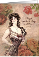 For Wife on Mother's Day Vintage Lingerie and Roses card