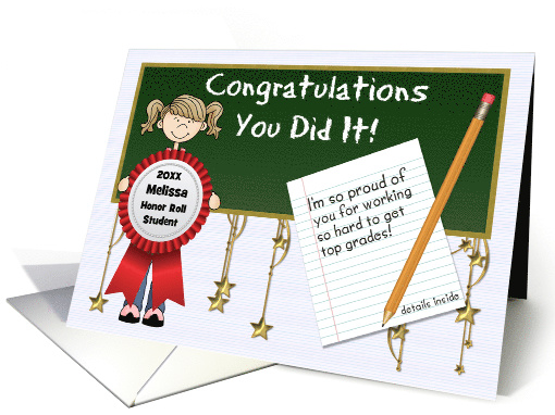 Honor Roll Congratulations School Girl Custom Front card (923978)