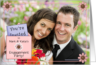 Engagement Party Pink and Purple Custom Photo card
