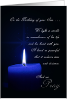 Son Remembrance on His Birthday Blue Candle card