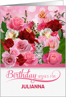 Custom Birthday Rose Garden with Butterflies and Tabby Cat card