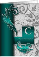 Monogrammed C Custom Silver Damask with Teal Blank card