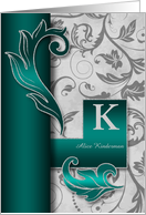 Monogrammed K Custom Silver Damask with Teal Blank card
