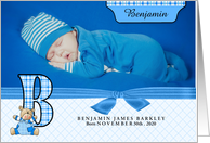 B for Bear Blue Birth Announcement with Baby's Photo card