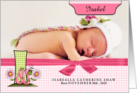 I for Inchworm Pink Birth Announcement with Girl's Photo card