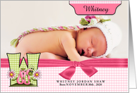 W for Worm Pink Birth Announcement with Girl's Photo card