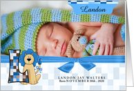 L for Lion Blue Birth Announcement with Boy's Photo card
