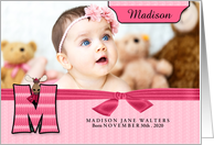 M for Moose Pink Birth Announcement with Girl's Photo card