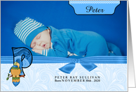 P for Parrot Blue Birth Announcement with Boy's Photo card