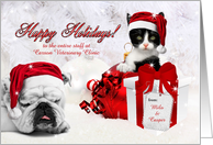 for Veterinarian Custom Holiday with Kitten and Bulldog card