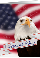 Veteran's Day Eagle with American Flag card