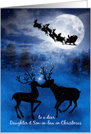 for Daughter and Son-in-Law on Christmas Kissing Reindeer card