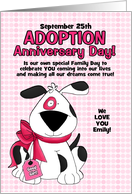 for Adopted Daughter on Adoption Day Anniversary Pink Dog card