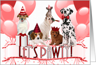 Cute Pack of Birthday Dogs in Red and White Party Invitation card