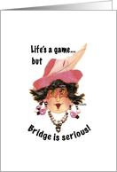 Whimsical Bridge Lady with humorous message card